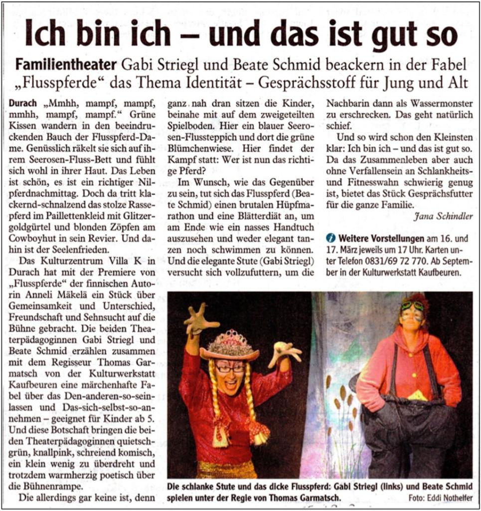 """Artikel im Allgäuer Anzeigenblatt, März 2012: Ich bin ich – und das ist gut so. Familientheater: Gabi Striegl und Beate Schmid beackern in der Fabel """"Flusspferde"""" das Thema Identität – Gesprächsstoff für Jung und Alt."""