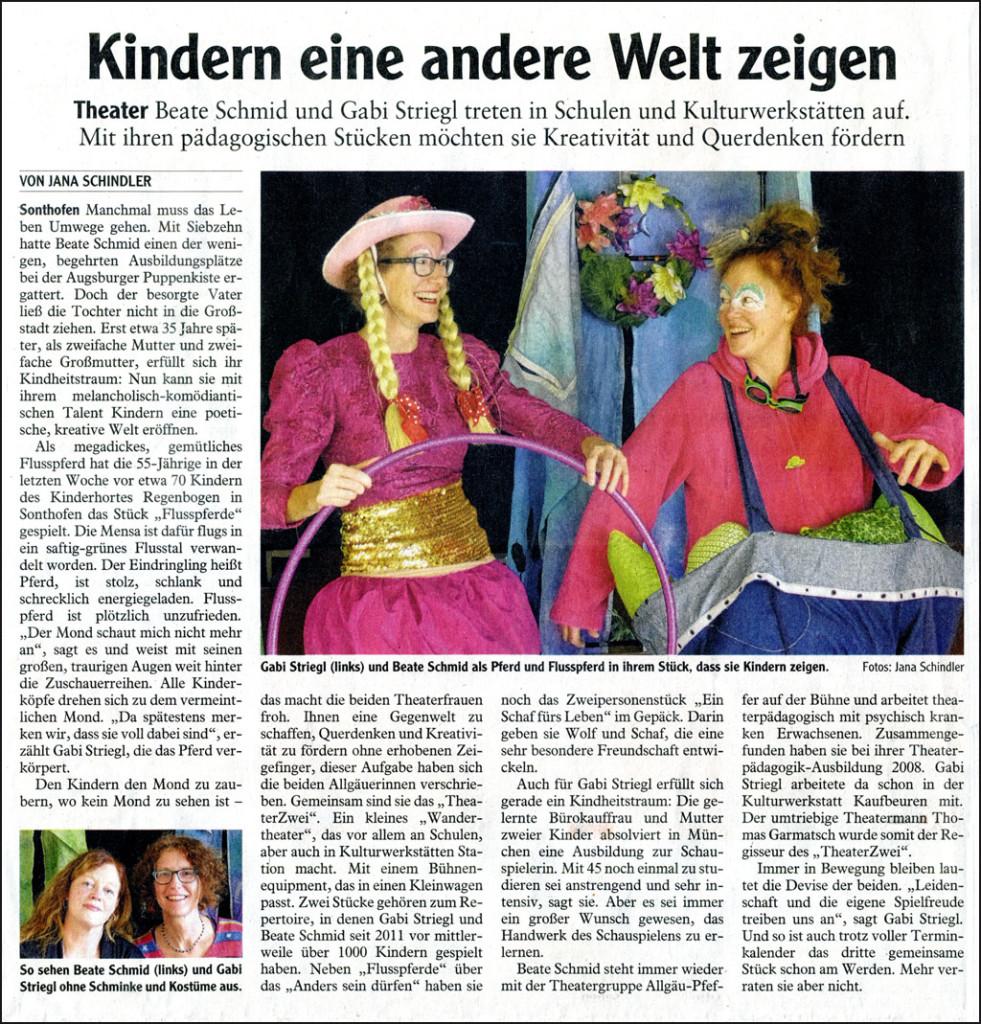Artikel im Allgäuer Anzeigenblatt am 27.10.2015: Kindern eine andere Welt zeigen. Theater: Beate Schmid und Gabi Striegl treten in Schulen und Kulturwerkstätten auf. Mit ihren pädagogischen Stücken möchten sie Kreativität und Querdenken fördern.
