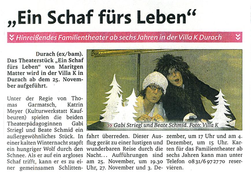 Artikel im Allgäuer Anzeigenblatt, November 2011