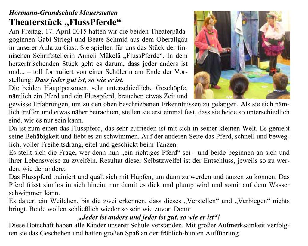 Artikel im Mitteilungsblatt Mauerstetten, Juni 2015